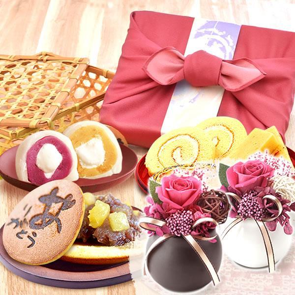 母の日 ギフト 母の日プレゼント 花 スイーツ mothersday 2019 詰め合わせ お菓子 和菓子 プリザーブドフラワー|hana-collabo