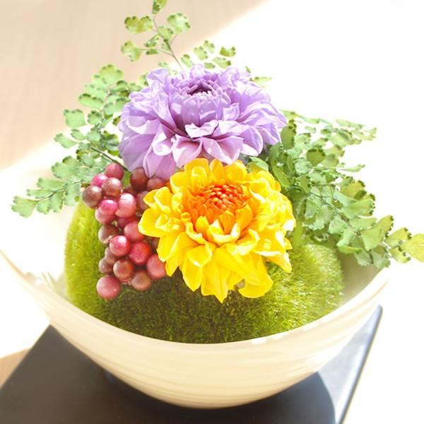敬老の日プレゼント 盆栽 ミニ苔玉 ギフト プリザーブドフラワー 贈り物|hana-collabo|02