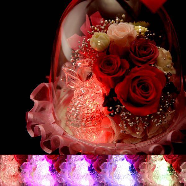 母の日 プレゼント 花 ガラスドーム プリザーブドフラワー 光る スイーツ 洋菓子|hana-collabo|03