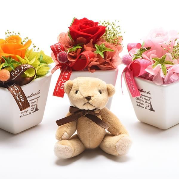 母の日 プレゼント プリザーブドフラワー 花 くま ぬいぐるみ ギフト 贈り物 テディベア|hana-collabo|02