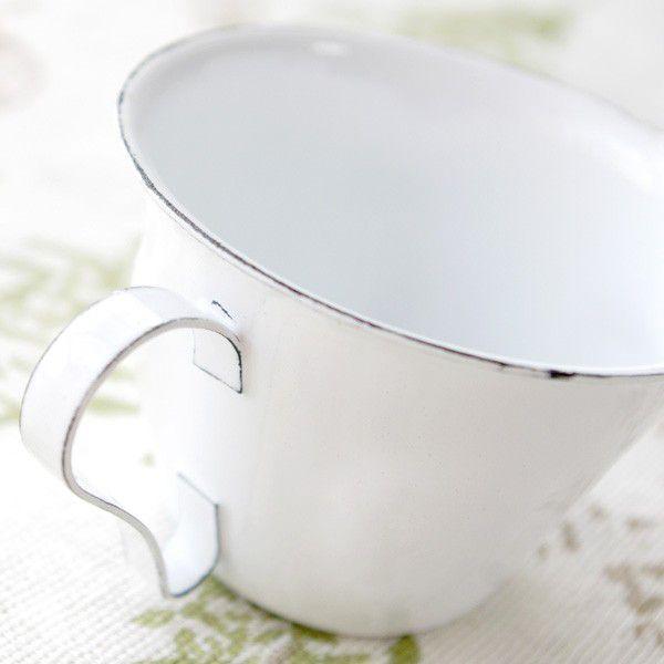 鉢カバー ホーロー 白いカップの形のエナメル・スモールカップポット|hana-kazaru|02