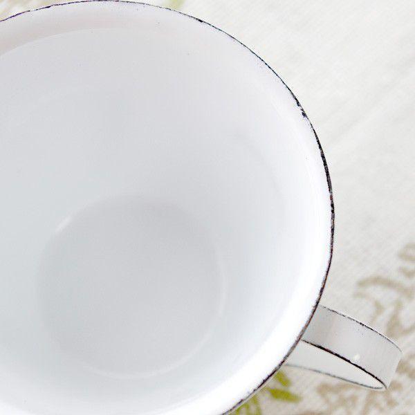 鉢カバー ホーロー 白いカップの形のエナメル・スモールカップポット|hana-kazaru|05