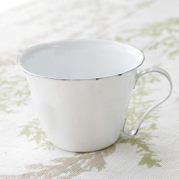 鉢カバー ホーロー 白いカップの形のエナメル・スモールカップポット|hana-kazaru|06