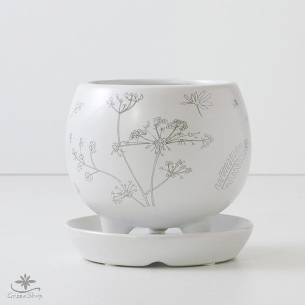 プランター おしゃれ 植木鉢 植物柄のまあるい足つきプランター 3号 受け皿付|hana-kazaru|02