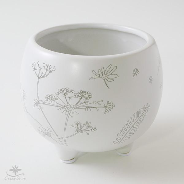 プランター おしゃれ 植木鉢 植物柄のまあるい足つきプランター 3号 受け皿付|hana-kazaru|03