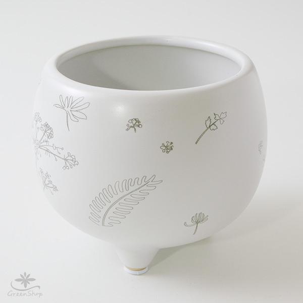 プランター おしゃれ 植木鉢 植物柄のまあるい足つきプランター 3号 受け皿付|hana-kazaru|04