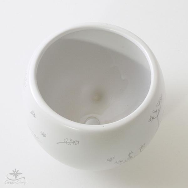 プランター おしゃれ 植木鉢 植物柄のまあるい足つきプランター 3号 受け皿付|hana-kazaru|05