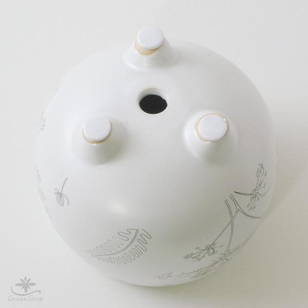 プランター おしゃれ 植木鉢 植物柄のまあるい足つきプランター 3号 受け皿付|hana-kazaru|06