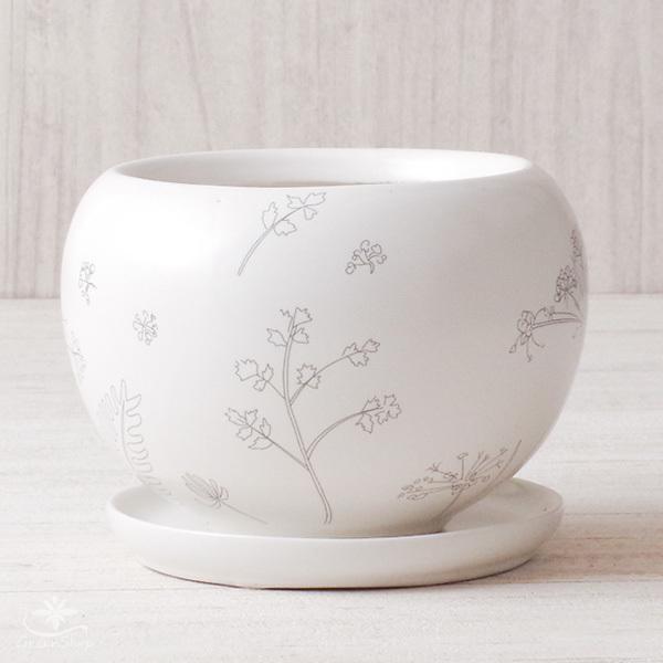 プランター おしゃれ 植木鉢 植物柄のまあるいプランター 約4.5号 受け皿付|hana-kazaru|03