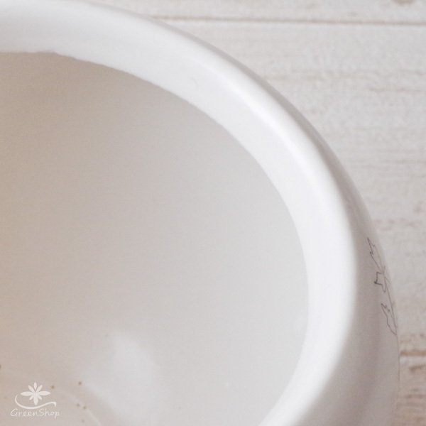 プランター おしゃれ 植木鉢 植物柄のまあるいプランター 約4.5号 受け皿付|hana-kazaru|04