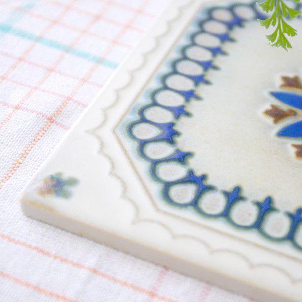 タイル おしゃれ 雑貨 デザインタイル ホワイトブルーレース 15cm B-1|hana-kazaru|02