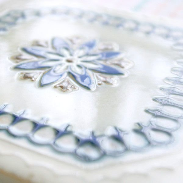 タイル おしゃれ 雑貨 デザインタイル ホワイトブルーレース 15cm B-1|hana-kazaru|03