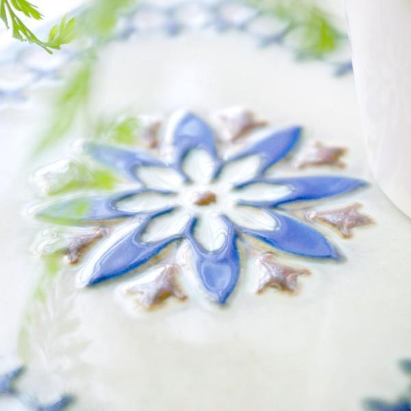 タイル おしゃれ 雑貨 デザインタイル ホワイトブルーレース 15cm B-1|hana-kazaru|04