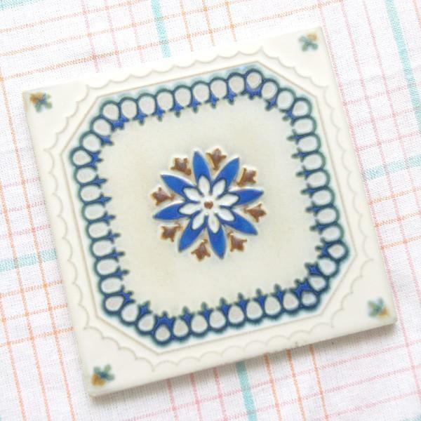タイル おしゃれ 雑貨 デザインタイル ホワイトブルーレース 15cm B-1|hana-kazaru|06