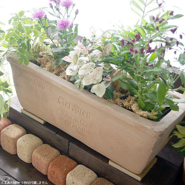 プランター おしゃれ 植木鉢 素焼きのナチュラルプランター RECT 約37×13cm|hana-kazaru