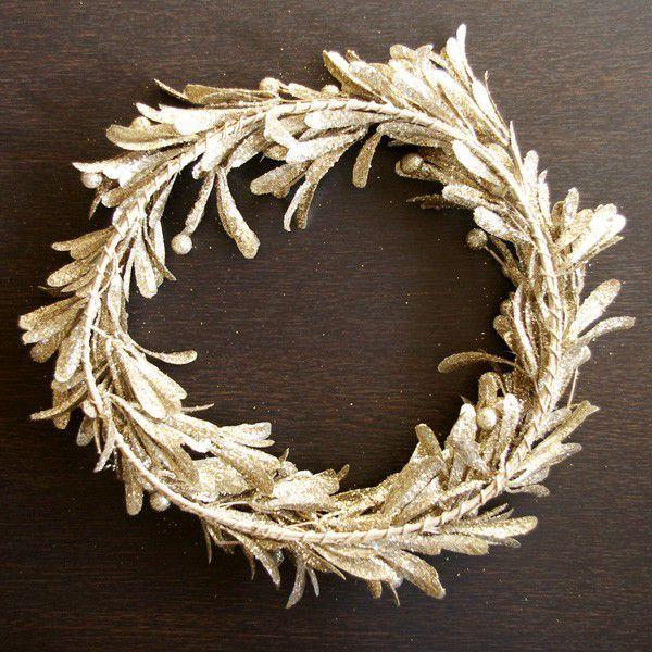 (商品入替え売りつくし)クリスマスリース リース材料 エレガント・ゴールドリース  直径約35cm|hana-kazaru|05