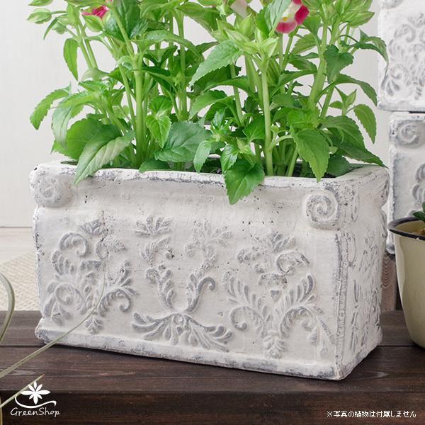 プランター おしゃれ 植木鉢 陶器 ダイナスティ レクトポット 約18×9cm|hana-kazaru