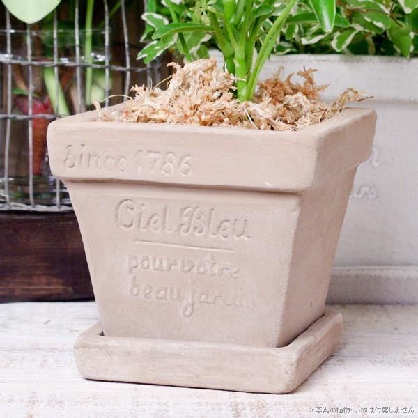プランター おしゃれ 植木鉢 素焼きのナチュラルプランター スクエア ミニ 約3.5号|hana-kazaru