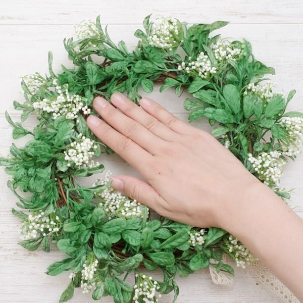 造花 リース おしゃれ ナチュラルグリーンリーフ・リース 直径約30cm|hana-kazaru|08
