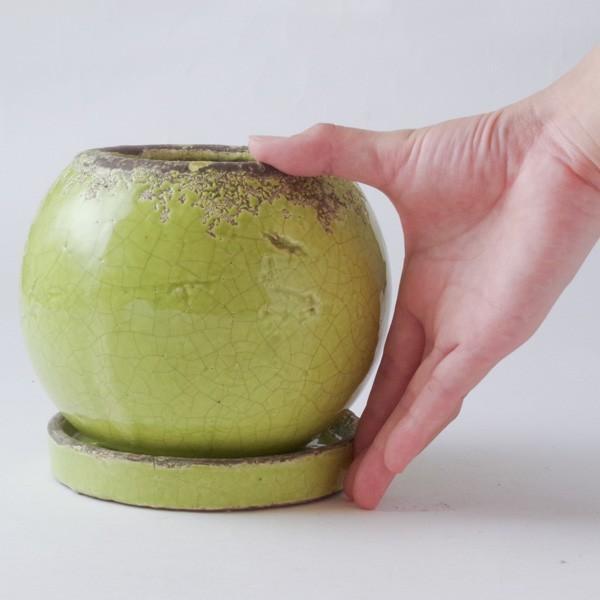 プランター おしゃれ 植木鉢 陶器 シャビーボール グリーン|hana-kazaru|08