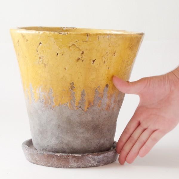 プランター おしゃれ 植木鉢 陶器 シャビードリッププランター イエロー 約6.5号|hana-kazaru|08