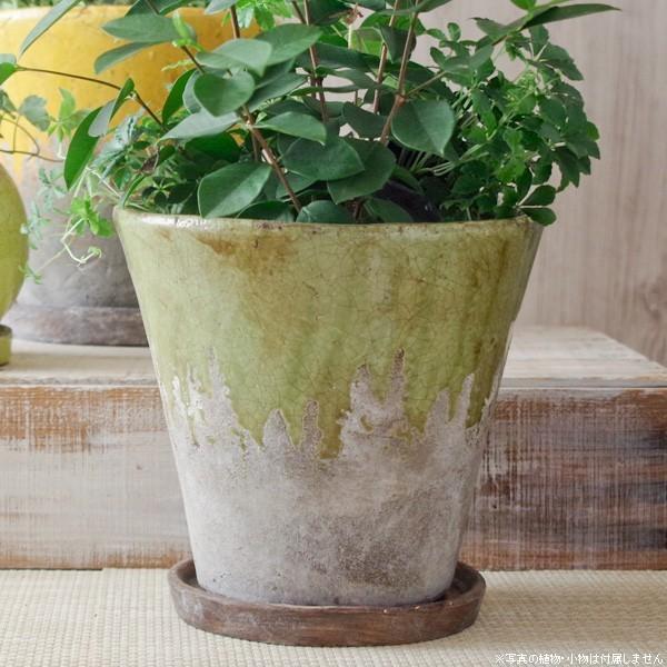 プランター おしゃれ 植木鉢 陶器 シャビードリッププランター グリーン 約6.5号|hana-kazaru