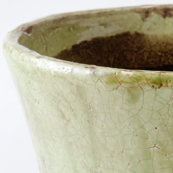 プランター おしゃれ 植木鉢 陶器 シャビードリッププランター グリーン 約6.5号|hana-kazaru|02