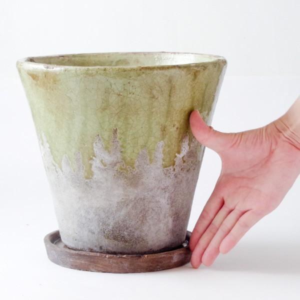 プランター おしゃれ 植木鉢 陶器 シャビードリッププランター グリーン 約6.5号|hana-kazaru|08