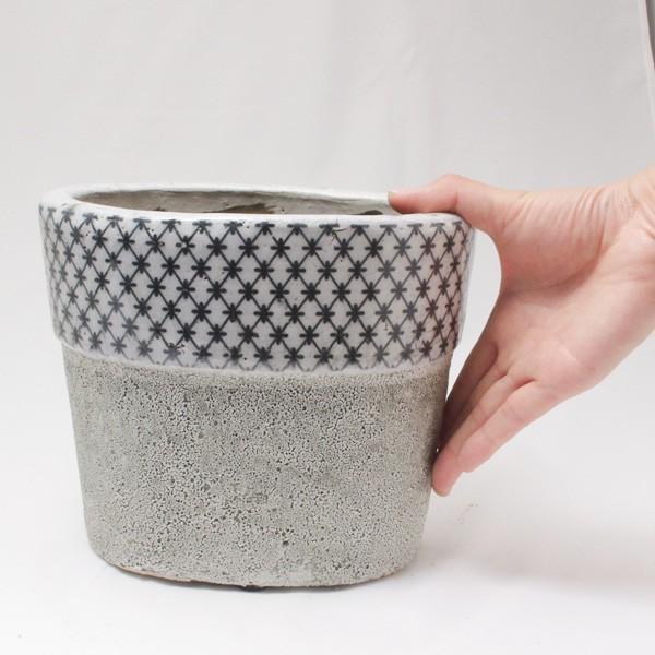 プランター おしゃれ 植木鉢 陶器 クラシカルオーバルプランター Lサイズ 楕円横約21×高さ17.5cm|hana-kazaru|06