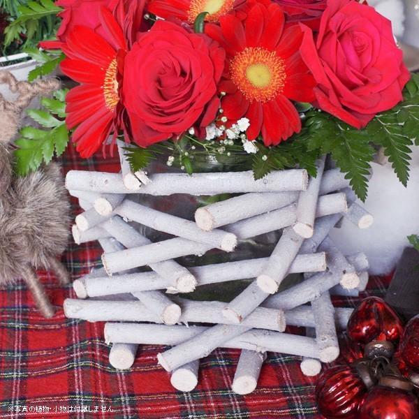 フラワーベース 花瓶 ガラス クリスマス ホワイトウッドフラワーベース|hana-kazaru