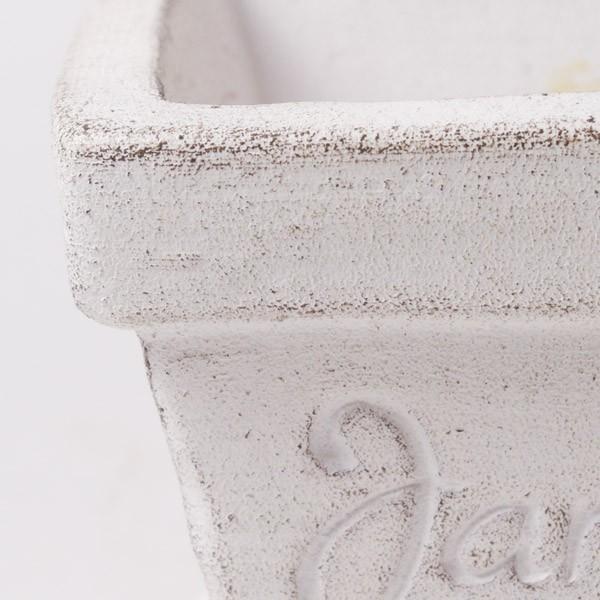 プランター おしゃれ 植木鉢 素焼きのシュクレ プティスクエア ホワイト 約4号|hana-kazaru|02