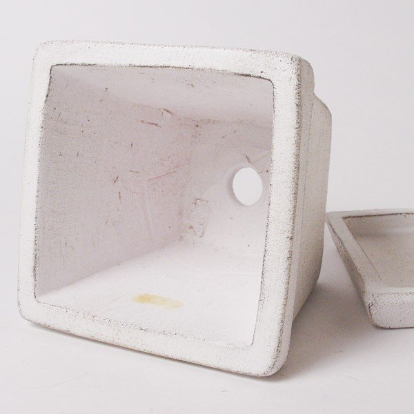 プランター おしゃれ 植木鉢 素焼きのシュクレ プティスクエア ホワイト 約4号|hana-kazaru|03