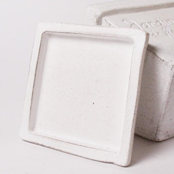プランター おしゃれ 植木鉢 素焼きのシュクレ プティスクエア ホワイト 約4号|hana-kazaru|05