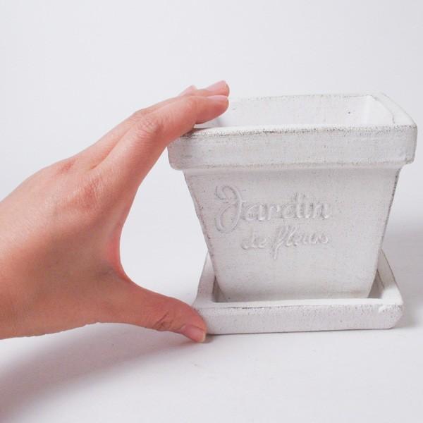 プランター おしゃれ 植木鉢 素焼きのシュクレ プティスクエア ホワイト 約4号|hana-kazaru|06