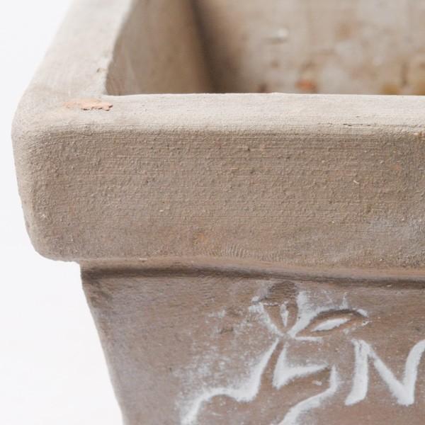 プランター おしゃれ 植木鉢 素焼きのシュクレ プティスクエア ブラウン 約4号|hana-kazaru|02