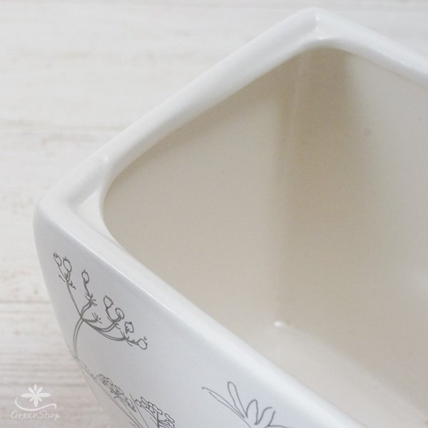 プランター おしゃれ 植木鉢 植物柄のスクエアプランター 約4.5号 受け皿付|hana-kazaru|03
