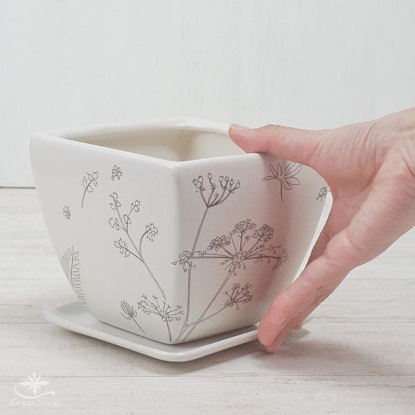 プランター おしゃれ 植木鉢 植物柄のスクエアプランター 約4.5号 受け皿付|hana-kazaru|07