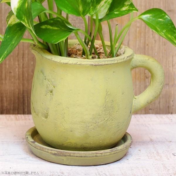 プランター おしゃれ 植木鉢 素焼きのアンティーク風ピッチャープランター グリーン 約3.5号|hana-kazaru