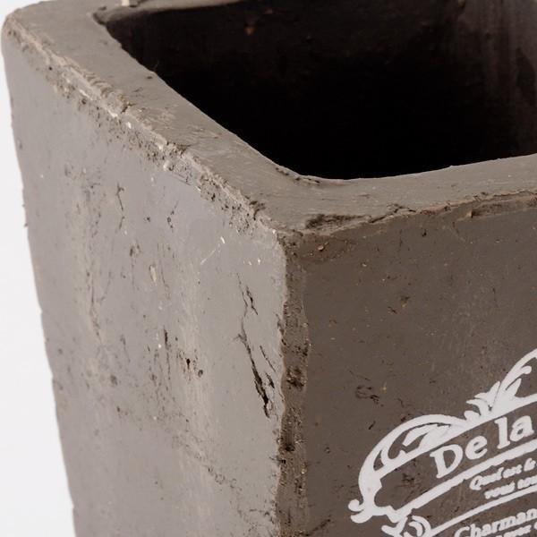 プランター おしゃれ 植木鉢 素焼きのアンティーク風スクエアプランター ブラウン 3.5号|hana-kazaru|02
