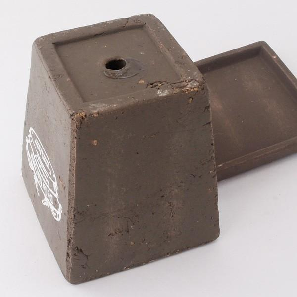 プランター おしゃれ 植木鉢 素焼きのアンティーク風スクエアプランター ブラウン 3.5号|hana-kazaru|04