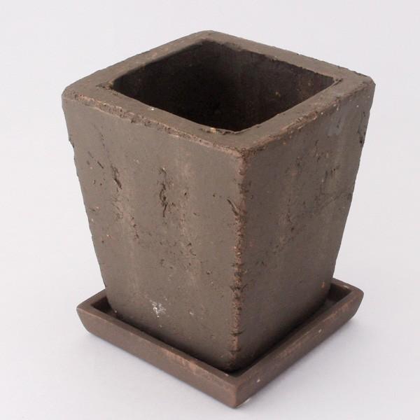 プランター おしゃれ 植木鉢 素焼きのアンティーク風スクエアプランター ブラウン 3.5号|hana-kazaru|05