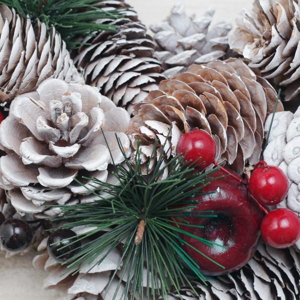 (商品入替え売りつくし)クリスマスリース 松ぼっくりと林檎のホワイトクリスマスリース 直径約34cm|hana-kazaru|03