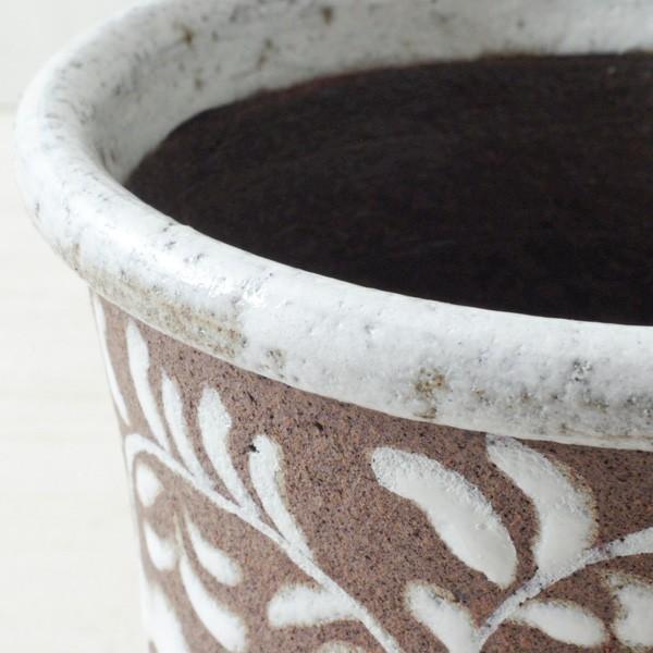 鉢カバー おしゃれ 陶器 フローラルパターン(底穴無し)|hana-kazaru|02