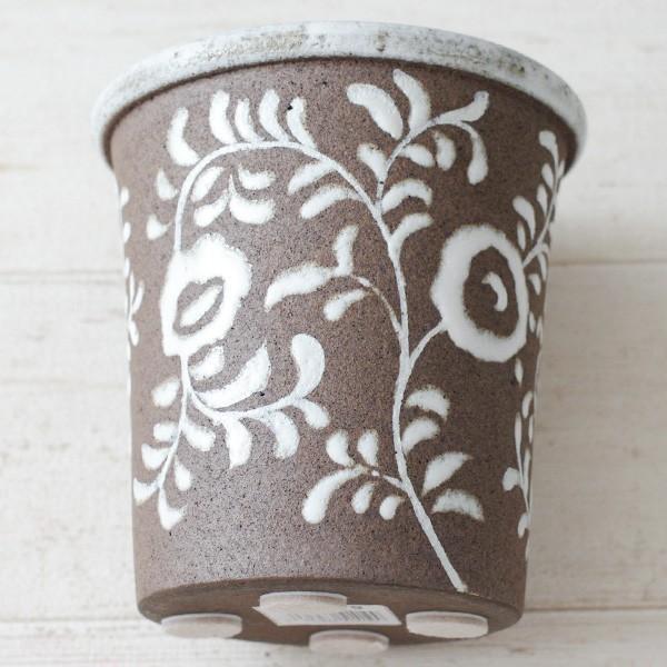 鉢カバー おしゃれ 陶器 フローラルパターン(底穴無し)|hana-kazaru|04