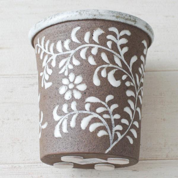 鉢カバー おしゃれ 陶器 フローラルパターン(底穴無し)|hana-kazaru|05