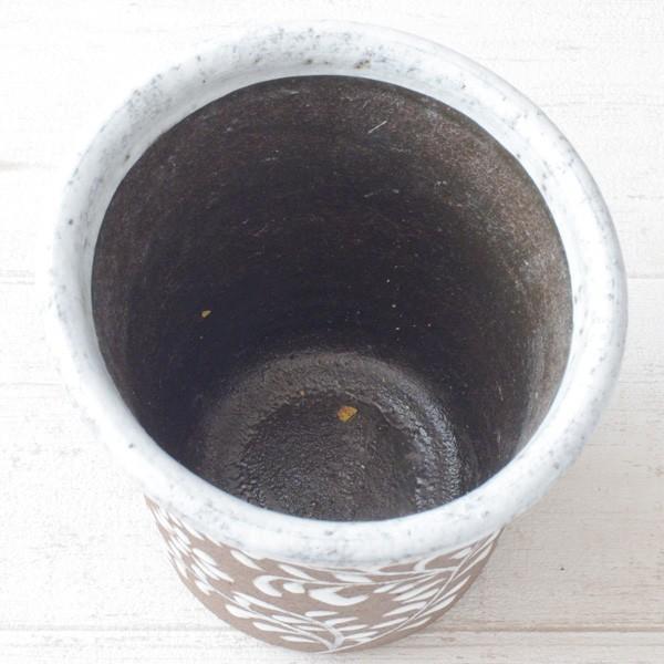 鉢カバー おしゃれ 陶器 フローラルパターン(底穴無し)|hana-kazaru|06