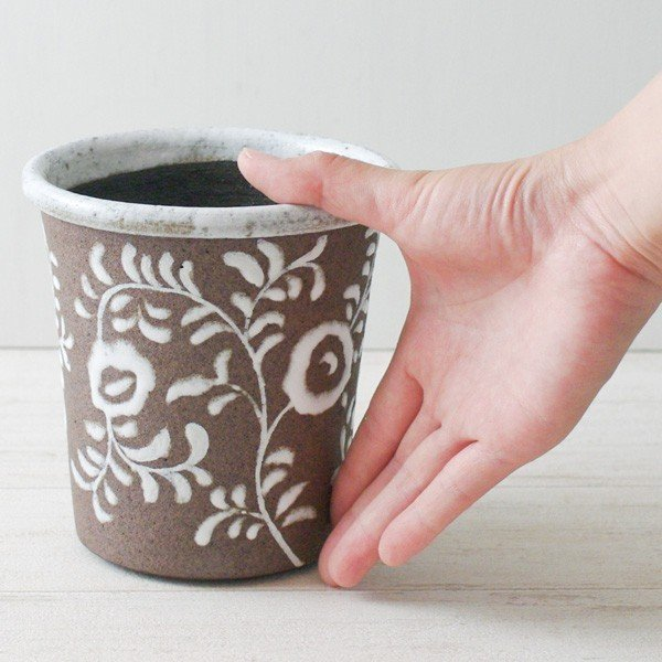 鉢カバー おしゃれ 陶器 フローラルパターン(底穴無し)|hana-kazaru|08