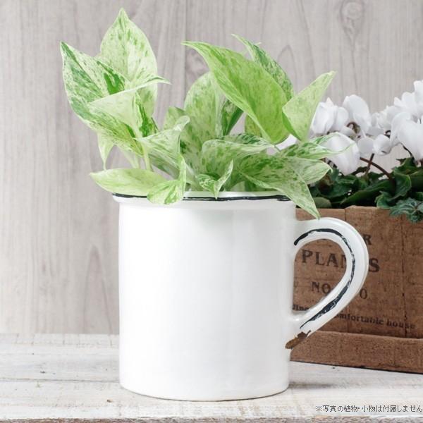 プランター おしゃれ 植木鉢 陶器 ホワイトマグポット 約4号|hana-kazaru