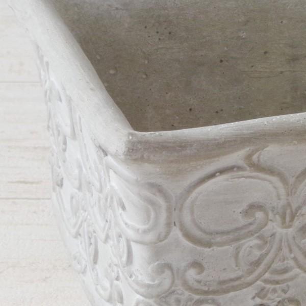 プランター おしゃれ 植木鉢 セメント鉢 ライトグレーセメントポットL レクト 約W23.5×D13.5×H11.5cm|hana-kazaru|02