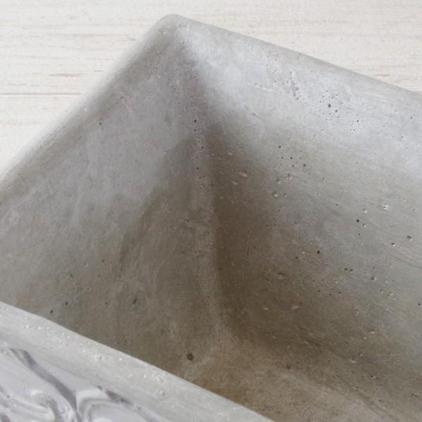 プランター おしゃれ 植木鉢 セメント鉢 ライトグレーセメントポットL レクト 約W23.5×D13.5×H11.5cm|hana-kazaru|03